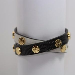 TORY BURCH Black and White Wrap Leather Bracelet